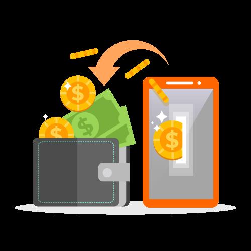 ציור של טלפון המסמל על אפליקציית הזמנות המכניסה כסף לארנק