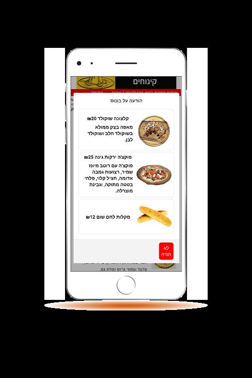 הגדלת מכירות באמצעות מערכת בונוס המופיע ללקוח באפליקציית הזמנות של בייט טכנולוגיה