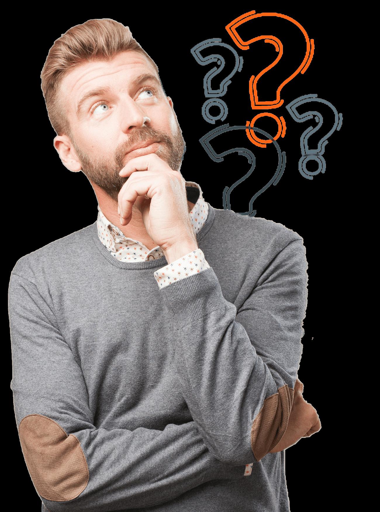 שאלות נפוצות שעולות אצל בן אדם בחולצה אפורה עם סימיני שאלה מהצד הימני שלו בעת הסתכלות על השירותים של בייט טכנולוגיה